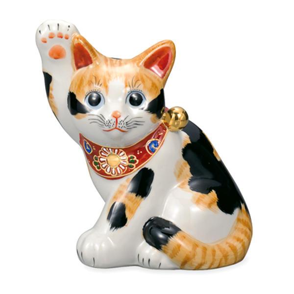 九谷焼 5.5号横座り招き猫(右手金運招き猫)毛長三毛AP5-1409