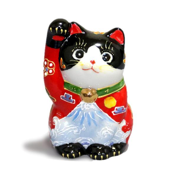 九谷焼招き猫(右手金運招き猫)3号赤黒富士山