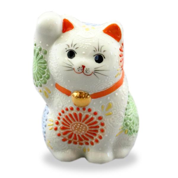 九谷焼招き猫(右手金運招き猫)3.8号白盛