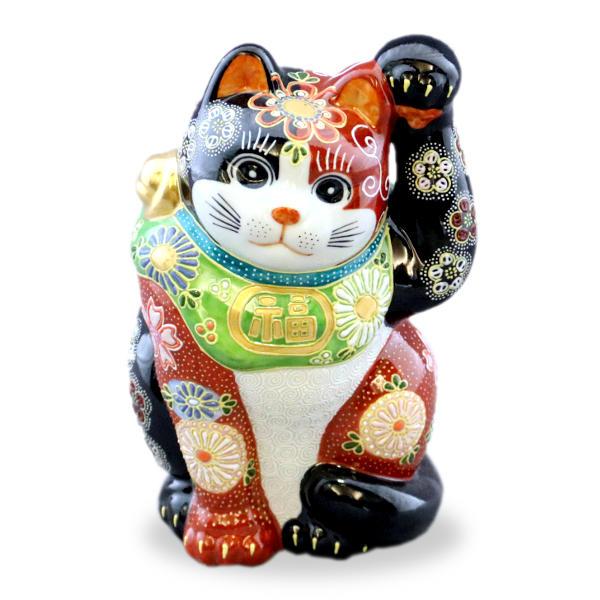 九谷焼招き猫(左手人お客招き猫)6.5号赤黒盛