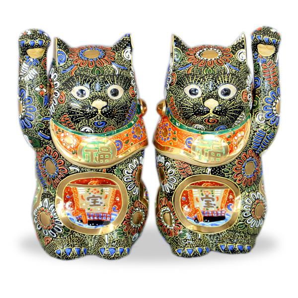 九谷焼ペア招き猫 7号黒盛宝船