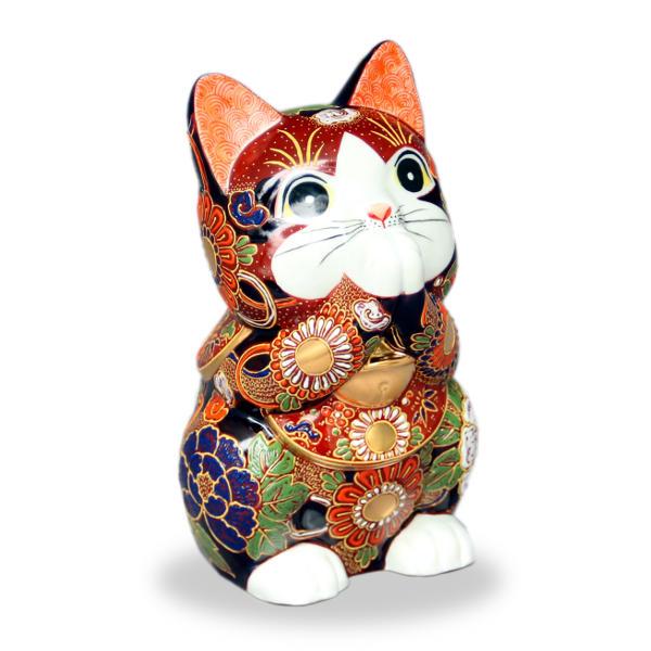九谷焼お祈り猫(招き猫)7号赤盛