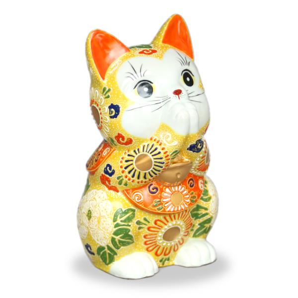 九谷焼お祈り猫(招き猫)7号黄盛