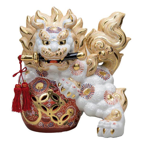 九谷焼 10号剣獅子 白盛(房付)K6-1641