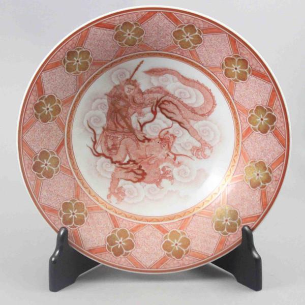 大酒清山 九谷焼飾り皿 赤絵龍上張飛図