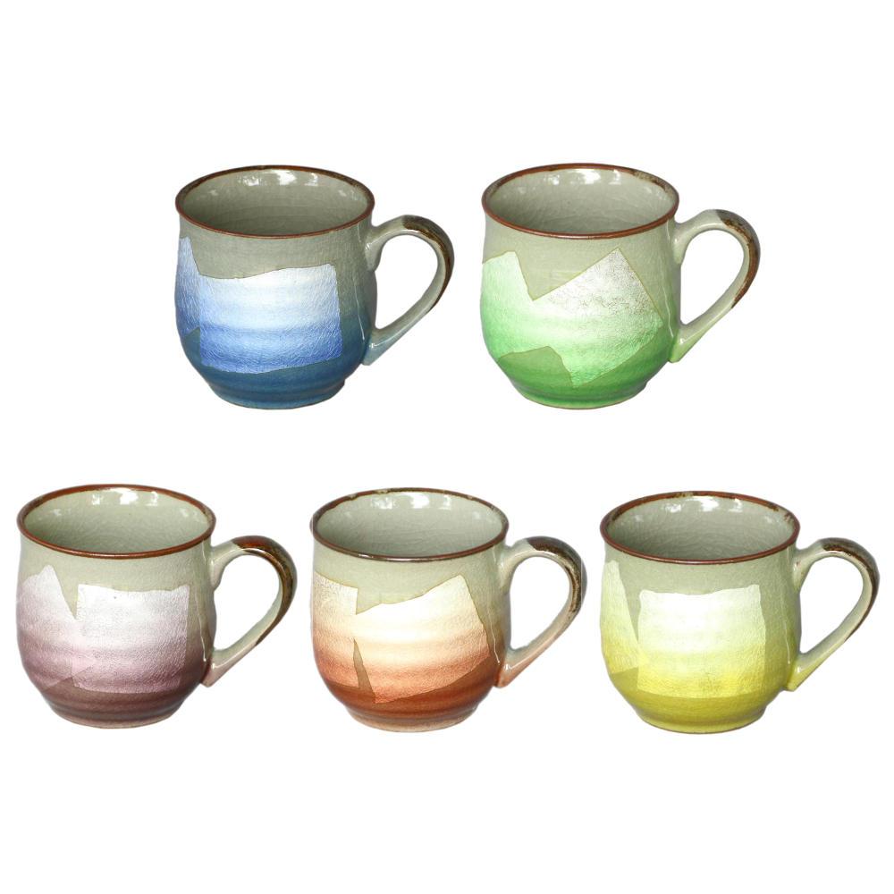 九谷焼 マグカップ(5個セット)銀彩