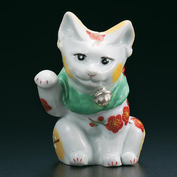 古田弘毅 九谷焼4号招き猫(右手金運招き猫) 紅白梅AP4-4031