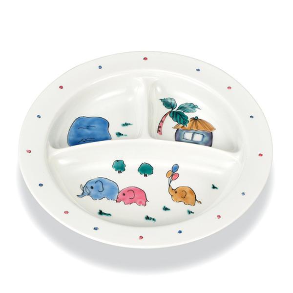 子供用食器 大皿 ランチプレート 仕切り皿 九谷焼 幸洋窯 子供プレート ぞうさんAP5-0572