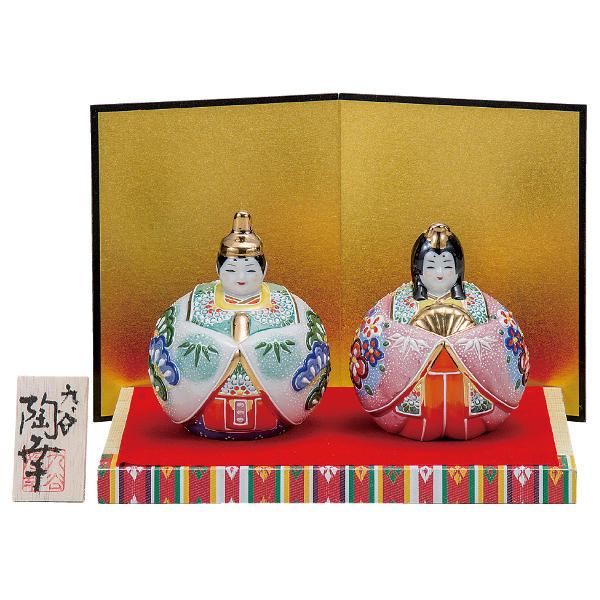 九谷焼ひな人形 陶幸 3号玉雛人形 絞り盛松竹梅K6-1588[コンパクト収納飾り 親王飾り]