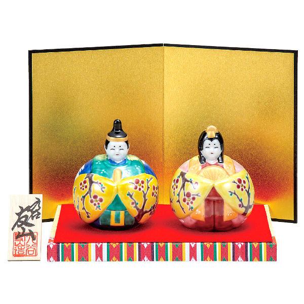 九谷焼ひな人形 友山 3号玉雛人形 梅紋K6-1590[コンパクト収納飾り 親王飾り]