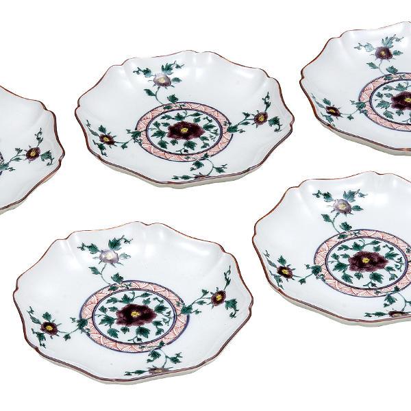九谷焼 銀泉窯5号皿揃(5枚セット)色絵牡丹K5-167