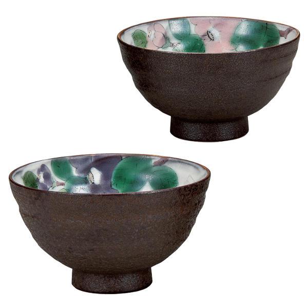 九谷焼 青良窯組飯碗(夫婦茶碗)椿K6-503[ご飯茶碗ペアセット]