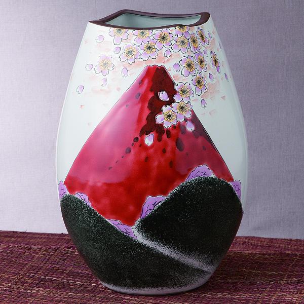 福田良則 九谷焼8号花瓶 赤富士K5-1280[花器 花生け フラワーベース]