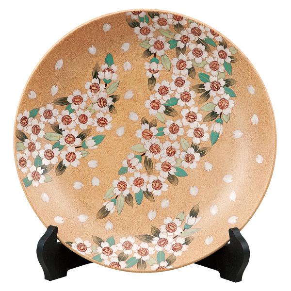 古田弘毅 九谷焼10号飾り皿 桜舞(皿立付)K6-1355