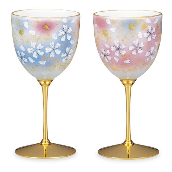 九谷焼 ペアワインカップ(ワイングラス)花の舞AP5-0815