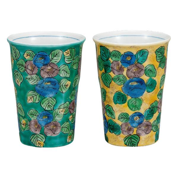 九谷焼 ペアフリーカップ 椿K7-1083 ビアカップ 好評受付中 ビールカップ 激安セール ビアグラス ビールグラス