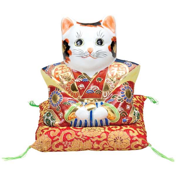 九谷焼 6号福助猫 盛(布団付)K6-1521[招き猫]