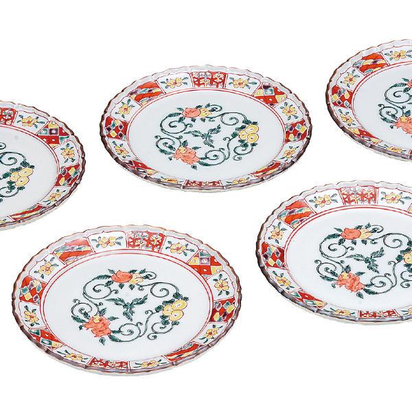 九谷焼 銀泉窯5号皿揃(5枚セット)三果文K6-174