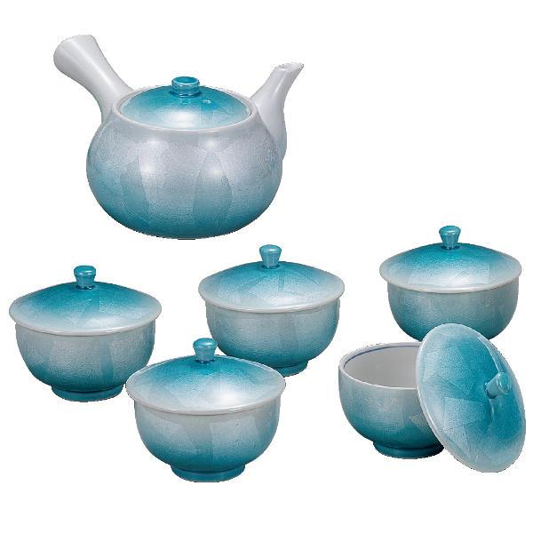 九谷焼 蓋付茶器(急須&湯呑み5個セット)銀彩K6-781