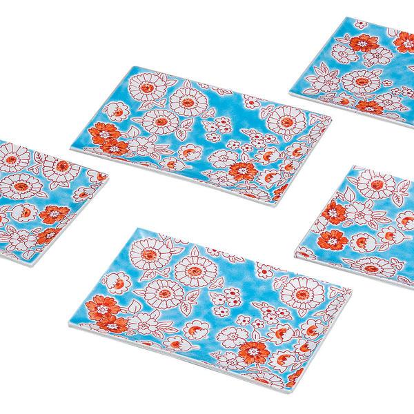 九谷焼 5号皿揃(長角皿5枚セット)フラワーシャワーK6-133