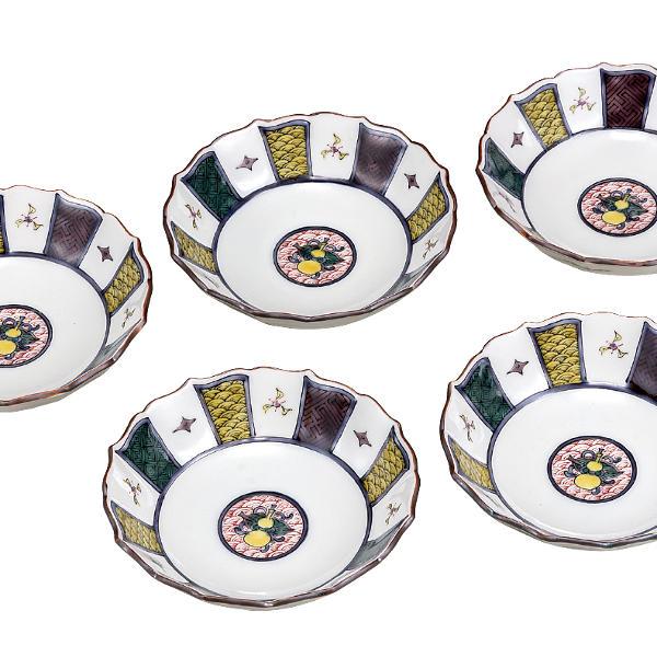 九谷焼 銀泉窯3.8号小鉢揃(5個セット)宝文K6-243