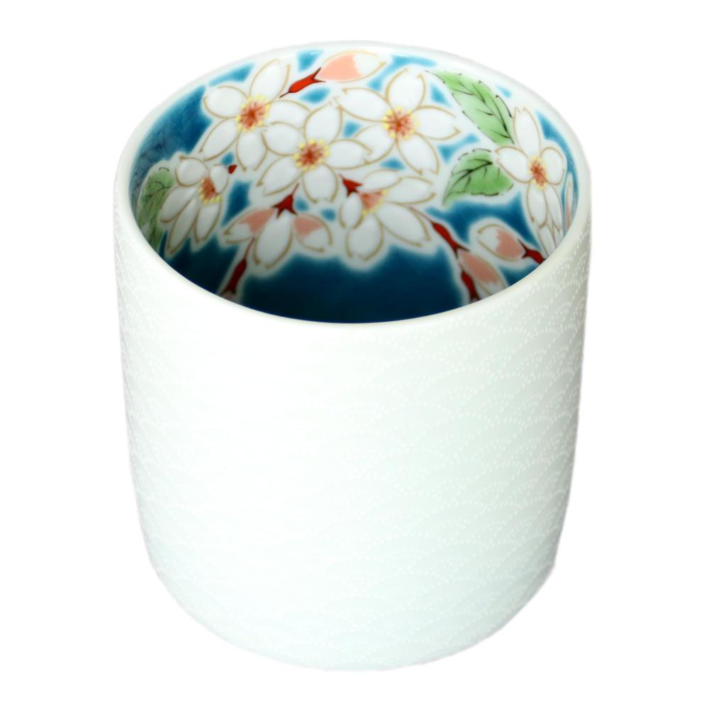 九谷焼 青郊窯ロックグラス 桜IKI-05
