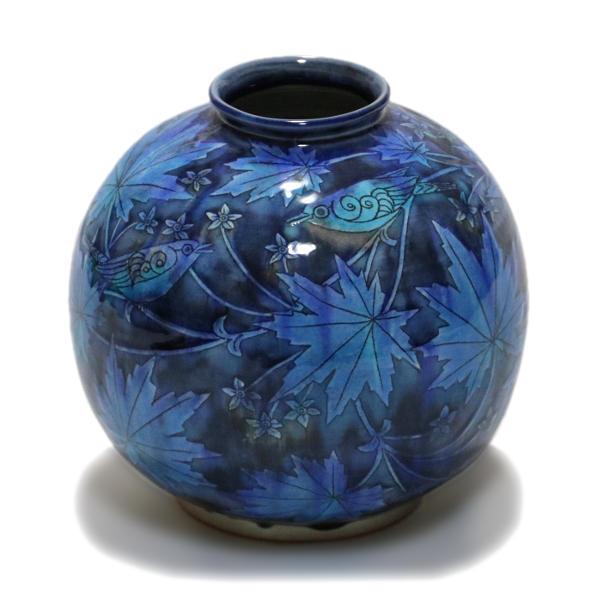 苧野憲夫 九谷焼7号花瓶 緑の中