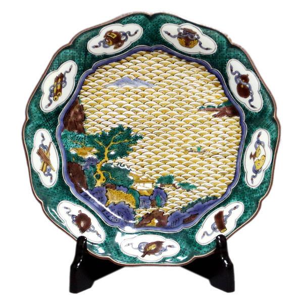 三ツ井為吉 九谷焼飾り皿 波に山水