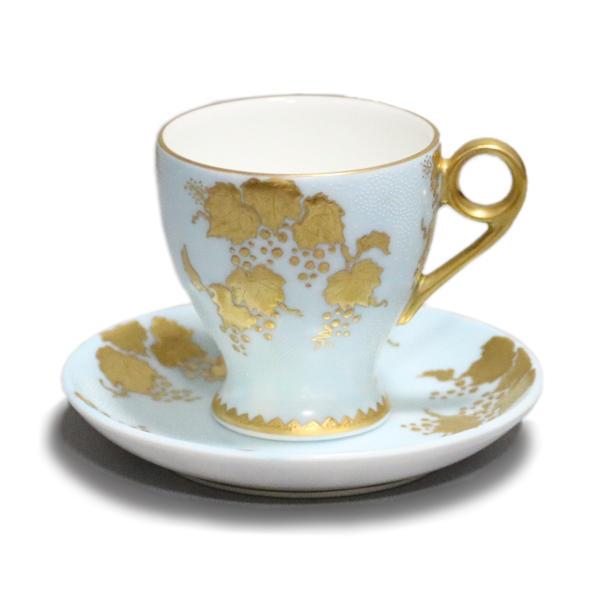 仲田錦玉 九谷焼デミタスコーヒー碗皿(カップ&ソーサー)白粒盛金葡萄 水色