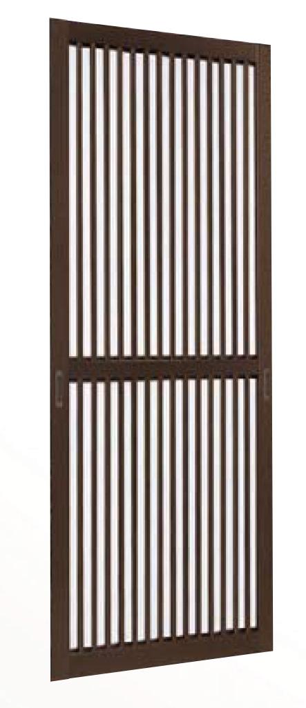 YKKAPオプション れん樹:格子付網戸 アルミ色 玄関引戸 2枚建用