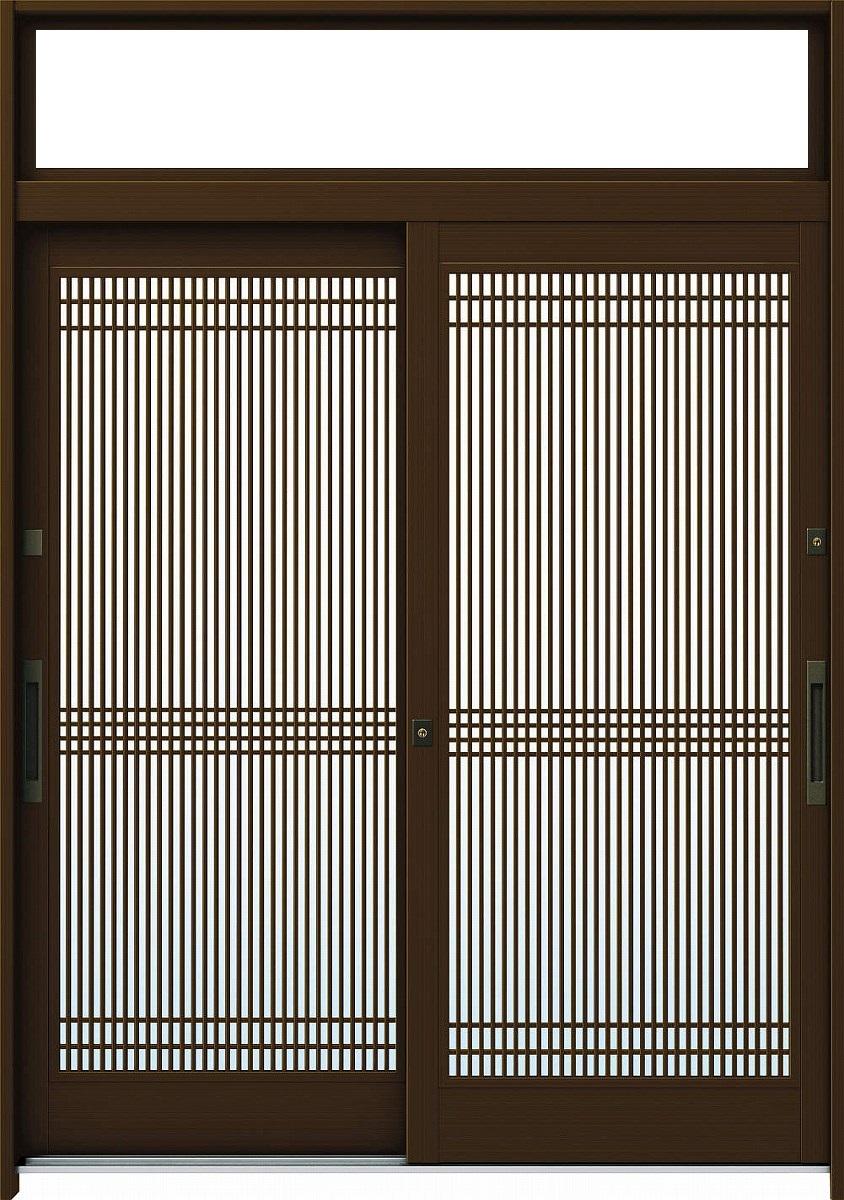 YKKAP玄関 玄関引戸 れん樹 伝統和風 6尺2枚建 ランマ付 A05 アルミ色 単板ガラス 幅1800mm×高2330mm ykk YKK玄関引き戸 引き戸 れんじゅ 玄関戸 玄関ドア引戸