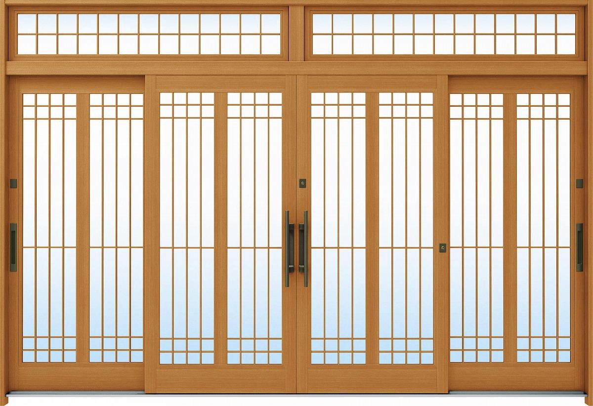 【SALE】 A13[木目柄]:複層ガラス[幅3510mm×高2330mm]【ykk】【YKK玄関引き戸】【れんじゅ】【玄関戸】【玄関ドア引戸】【gennkann】:ノース&ウエスト 12尺4枚建[ランマ付] 断熱玄関引戸 れん樹[伝統和風] YKKAP玄関-木材・建築資材・設備