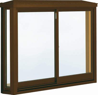 YKKAP窓サッシ 出窓 居室用[出窓220] 台形出窓[雨音軽減屋根] アルミ樹脂複合障子:[幅1235mm×高1170mm]