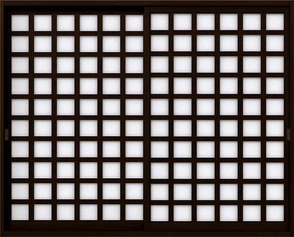 YKKAP室内引戸 ラフォレスタ[新和風] 内障子 引違い戸[2枚建][2x4] 枡格子(紙貼障子):2×4用[幅1640mm×高1161mm]
