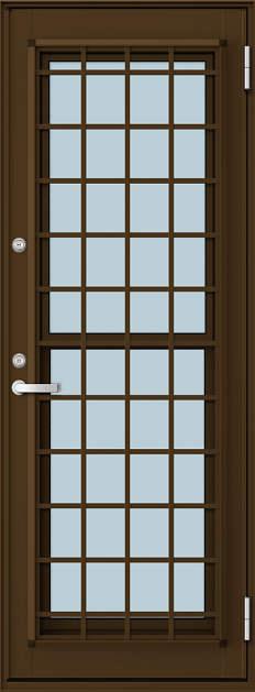 YKKAP勝手口 通風ドア フレミングJ仕様 複層ガラス[2シリンダー仕様] 井桁格子[プラットフォーム対応枠]:[幅640mm×高2030mm]【ykk】【YKK勝手口ドア】【アルミサッシ】【サッシ】【ペアガラス】【網戸付き】【アミド付き】【アミ戸付き】
