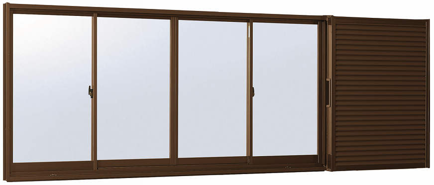 YKKAP窓サッシ 引き違い窓 フレミングJ[Low-E複層防音ガラス] 4枚建[雨戸付] 半外付型[Low-E透明4mm+透明3mm]:[幅2820mm×高1830mm]