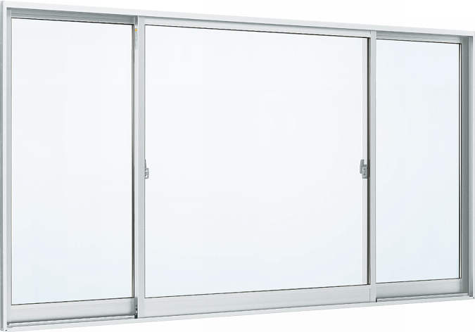 YKKAP窓サッシ 片引き窓 フレミングJ[Low-E複層防犯ガラス] 両袖 半外付型[Low-E透明3mm+合わせ透明7mm]:[幅2095mm×高970mm]