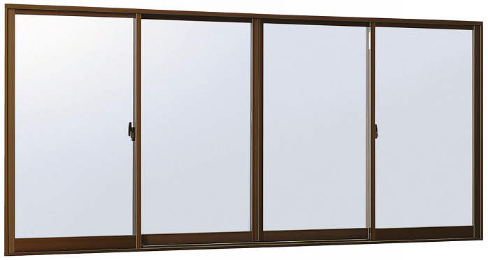 YKKAP窓サッシ 引き違い窓 エピソード[Low-E複層防音ガラス] 4枚建 半外付型[Low-E透明5mm+透明4mm]:[幅2470mm×高970mm]