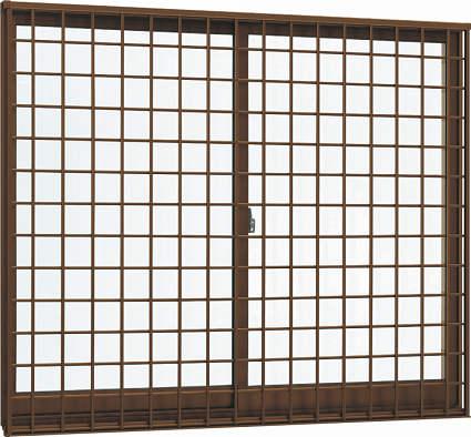 YKKAP窓サッシ 引き違い窓 エピソード[Low-E複層防音ガラス] 2枚建[面格子付] 井桁格子[半外付型][Low-E透明4mm+透明3mm]:[幅1235mm×高570mm]