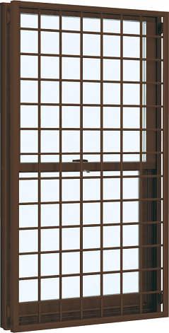 YKKAP窓サッシ 装飾窓 フレミングJ[Low-E複層防音ガラス] 面格子付片上げ下げ窓 井桁格子[Low-E透明4mm+透明3mm]:[幅640mm×高970mm]