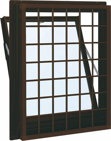 YKKAP窓サッシ 装飾窓 フレミングJ[Low-E複層防音ガラス] 面格子付内倒し窓 井桁格子[Low-E透明5mm+透明3mm]:[幅640mm×高370mm]