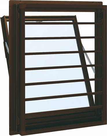 YKKAP窓サッシ 装飾窓 フレミングJ[Low-E複層防音ガラス] 面格子付内倒し窓 横格子[Low-E透明4mm+透明3mm]:[幅405mm×高570mm]