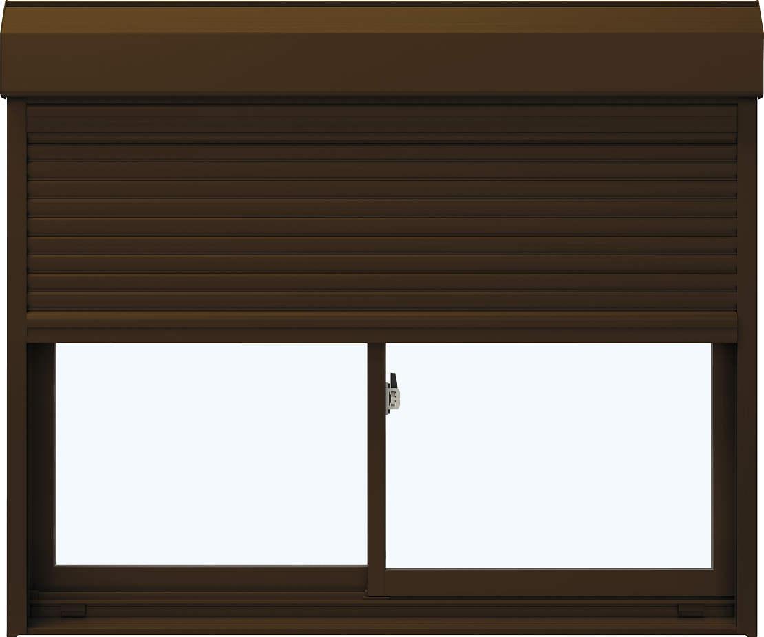 YKKAP窓サッシ 引き違い窓 エピソード[Low-E複層防音ガラス] 2枚建[シャッター付] スチール[半外付型][Low-E透明4mm+透明3mm]:[幅1540mm×高970mm]