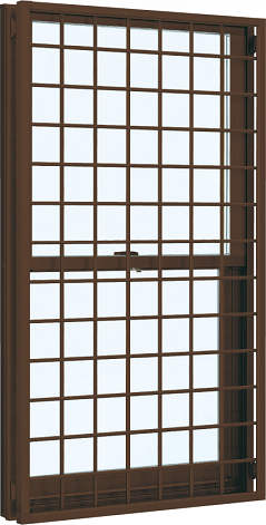 YKKAP窓サッシ 装飾窓 フレミングJ[Low-E複層防犯ガラス] 面格子付片上げ下げ窓 井桁格子[Low-E透明4mm+合わせ型7mm]:[幅300mm×高770mm]