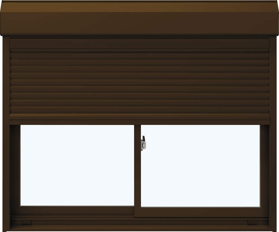 YKKAP窓サッシ 引き違い窓 エピソード[Low-E複層防音ガラス] 2枚建[シャッター付] スチール[半外付型][Low-E透明5mm+透明3mm]:[幅1370mm×高1830mm]