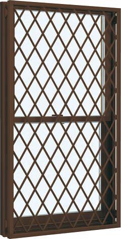 YKKAP窓サッシ 装飾窓 フレミングJ[Low-E複層防犯ガラス] 面格子付片上げ下げ窓 ラチス格子[Low-E透明4mm+合わせ型7mm]:[幅300mm×高1370mm]