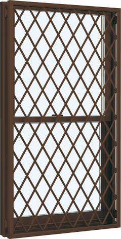 YKKAP窓サッシ 装飾窓 フレミングJ[Low-E複層防犯ガラス] 面格子付片上げ下げ窓 ラチス格子[Low-E透明5mm+合わせ透明7mm]:[幅730mm×高770mm]