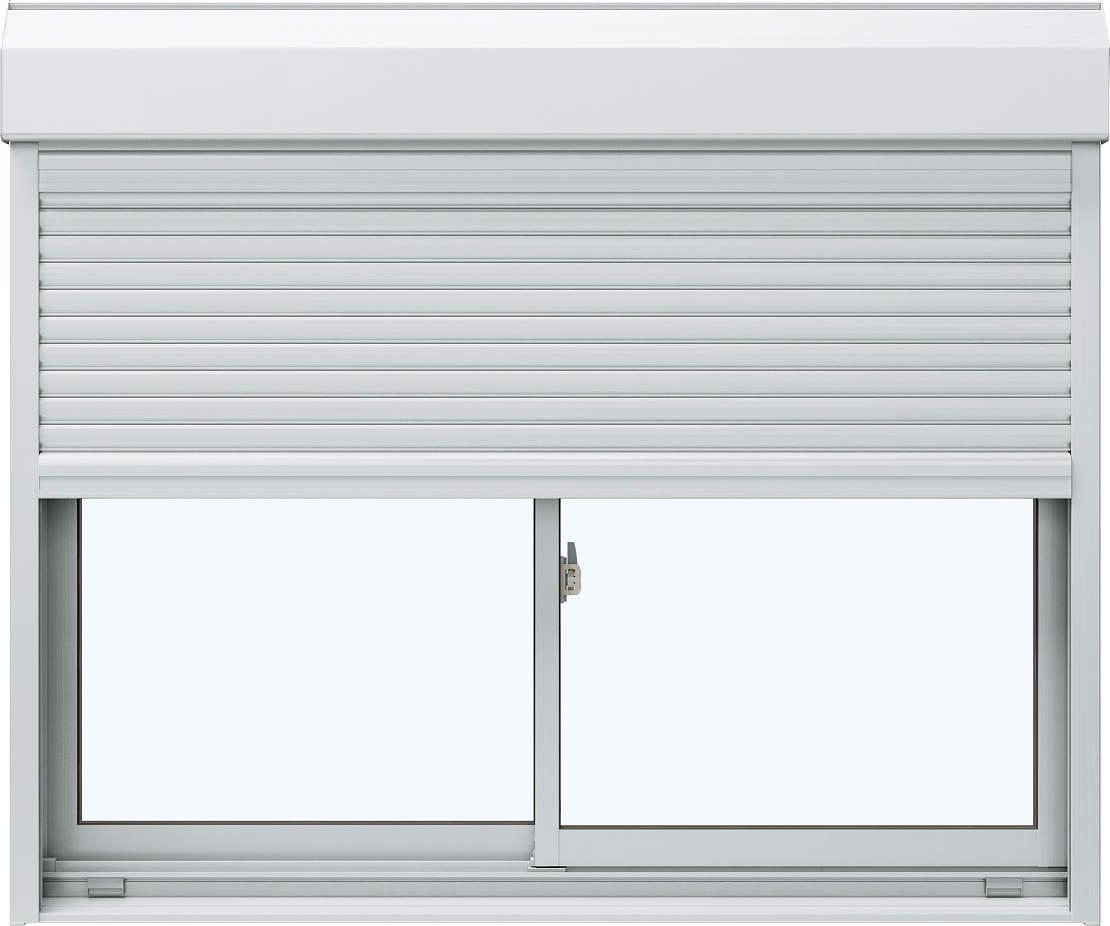 YKKAP窓サッシ 引き違い窓 エピソード[Low-E複層防音ガラス] 2枚建[シャッター付] スチール[外付型][Low-E透明5mm+透明4mm]:[幅1722mm×高903mm]