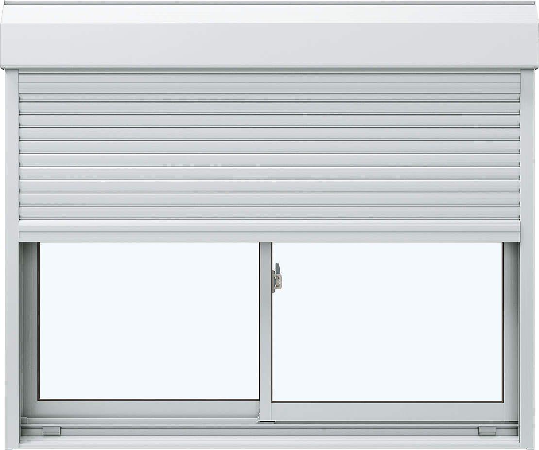 YKKAP窓サッシ 引き違い窓 エピソード[Low-E複層防音ガラス] 2枚建[シャッター付] スチール[外付型][Low-E透明5mm+透明3mm]:[幅1812mm×高2203mm]