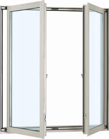 YKKAP窓サッシ 装飾窓 フレミングJ[Low-E複層防犯ガラス] 両たてすべり出し窓 グレモン仕様[Low-E透明4mm+合わせ透明7mm]:[幅1235mm×高1370mm]